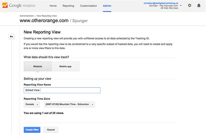 google analytics new view