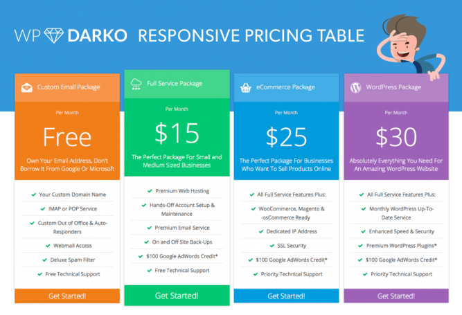 Wordpress darko pricing table extension