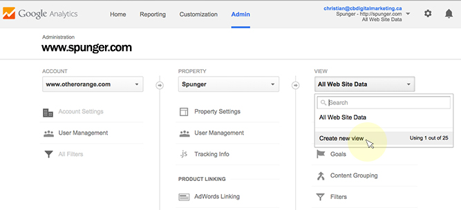 google analytics new view