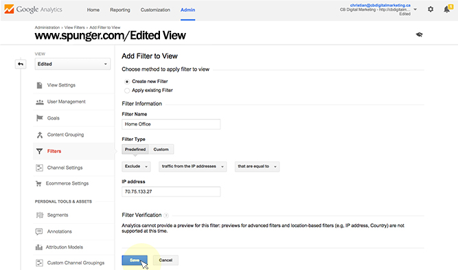 add filters to google analytics