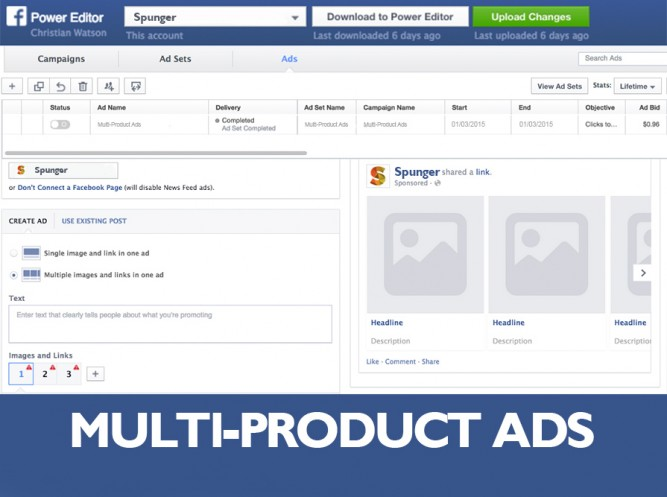 facebook muti-product ads in power editor